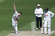 Leicestershire bowler Charlie Shreck during the Specsavers County Champ Div 2 match between Sussex County Cricket Club and Leicestershire County Cricket Club at the 1st Central County Ground, Hove, United Kingdom on 1 May 2016. Photo by Bennett Dean.