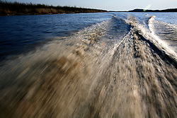 CANADA ALBERTA FORT CHIPEWYAN 12MAY07 - Tailwaves created by speedboat travelling at speed on Lake Athabasca...jre/Photo by Jiri Rezac / WWF-UK..© Jiri Rezac 2007..Contact: +44 (0) 7050 110 417.Mobile: +44 (0) 7801 337 683.Office: +44 (0) 20 8968 9635..Email: jiri@jirirezac.com.Web: www.jirirezac.com..© All images Jiri Rezac 2007 - All rights reserved.