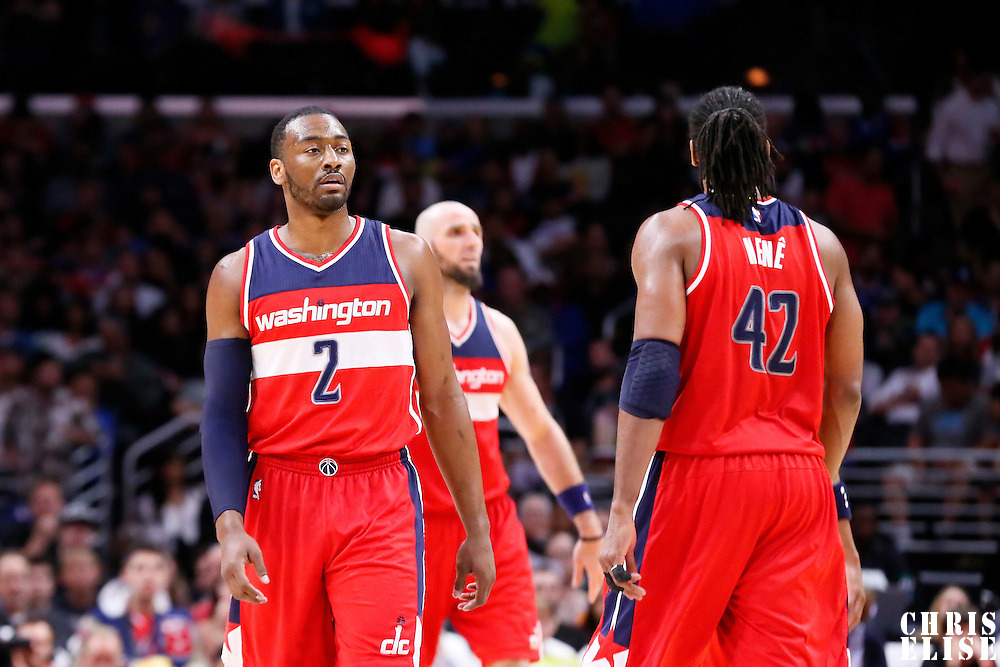 20 March 2015: Washington Wizards guard John Wall (2) is seen next to Washington Wizards forward Nene Hilario (42) during the Los Angeles Clippers 113-99 victory over the Washington Wizards, at the Staples Center, Los Angeles, California, USA.