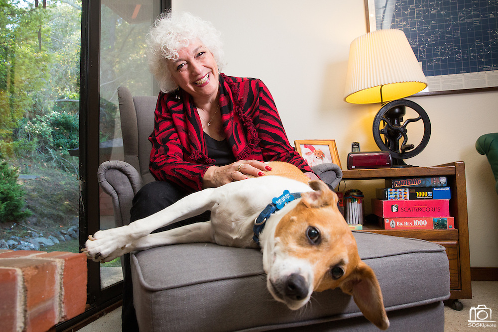 Hon. Dana Leigh Marks poses for a portrait with her dog Chico at her home in Mill Valley, California, on October 26, 2014. (Stan Olszewski for the ABA Journal)