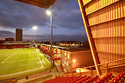 Nicknamed 'The Railwaymen' Crewe stadium overlooks Crewe station during the EFL Sky Bet League 2 match between Crewe Alexandra and Exeter City at Alexandra Stadium, Crewe, England on 20 February 2018. Picture by Graham Holt.