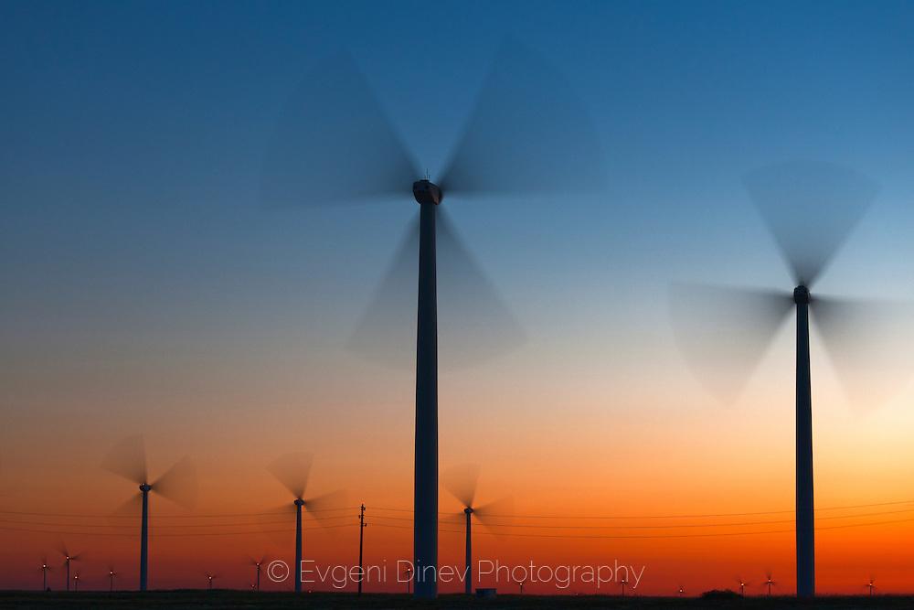 Wind generators at twilight