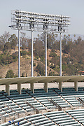 LOS ANGELES, CA - MAY 27:  Empty seats and light stands await the start of the Los Angeles Dodgers game against the Houston Astros on Sunday, May 27, 2012 at Dodger Stadium in Los Angeles, California. The Dodgers won the game 5-1. (Photo by Paul Spinelli/MLB Photos via Getty Images)