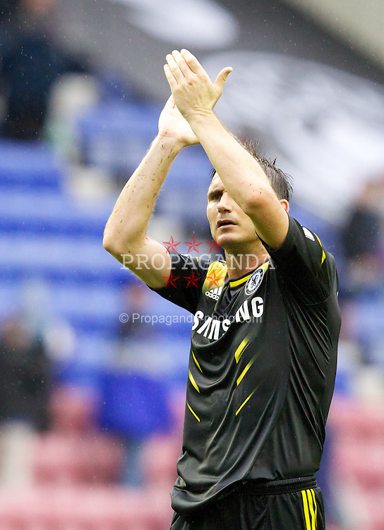 WIGAN, ENGLAND - Sunday, August 19, 2012: Chelsea's Frank Lampard celebrates his side's 1-0 win away to Wigan Athletic after the Premiership match at the DW Stadium. (Pic by Vegard Grott/Propaganda)