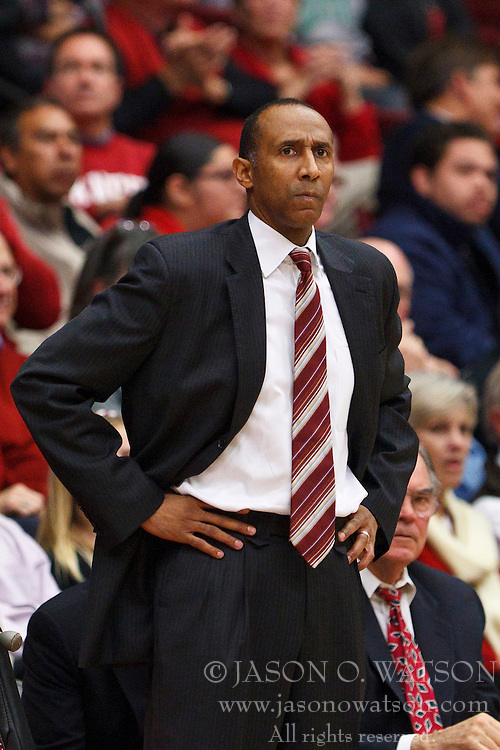 Nov 28, 2011; Stanford CA, USA;  Stanford Cardinal head coach Johnny Dawkins on the sidelines against the Pacific Tigers during the first half at Maples Pavilion. Stanford defeated Pacific 79-37. Mandatory Credit: Jason O. Watson-US PRESSWIRE