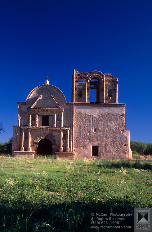 Direct frontal view of facade of Tumacacori Mission,  Tumacacori National Historical Park, Tumacacori, Arizona...Rights & Usage:.No rights granted. Subject photograph(s) are copyrighted by ©1989 Edward McCain/McCain Photography. All rights are reserved except those specifically granted in writing prior to any use...McCain Photography.211 S 4th Avenue.Tucson, AZ 85701-2103.(520) 623-1998.mobile: (520) 990-0999.fax: (520) 623-1190.http://www.mccainphoto.com.edward@mccainphoto.com