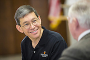 Hendrix College new President Dr. William Tsutsui on his BBQ tour of the 75 counties of Arkansas on the first stop in Fort Smith, Arkansas on June 26, 2014<br /> Photo by Wesley Hitt <br /> www.hittphotography.com