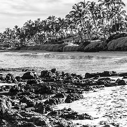 Keawakapu Beach black and white panorama photo in Wailea Makena Maui Hawaii with lava rocks and the Pacific Ocean. Panoramic photo ratio is 1:3. Copyright ⓒ 2019 Paul Velgos with All Rights Reserved.