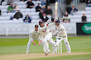 Wicket - Somerset's Ryan Davies swings wildly at a Lancashire's Simon Kerrigan delivery and is stumped by Lancashire's Alex Davies during the Specsavers County Champ Div 1 match between Somerset County Cricket Club and Lancashire County Cricket Club at the County Ground, Taunton, United Kingdom on 3 May 2016. Photo by Graham Hunt.