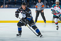 KELOWNA, CANADA - SEPTEMBER 2: Left wing Matthew Smith #9 of the Victoria Royals skates against the Kelowna Rockets on September 2, 2017 at Prospera Place in Kelowna, British Columbia, Canada.  (Photo by Marissa Baecker/Shoot the Breeze)  *** Local Caption ***