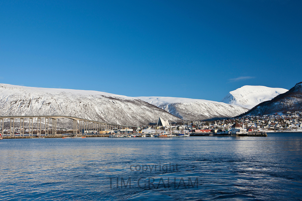 Tromsorrua Bridge and The Arctic Cathedral at Tromsdalen, Tromso, Northern Norway