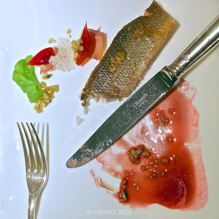 "Vienna, Austria. The ""Steirereck"" with award winning Chef Heinz Reitbauer Junior is probably Vienna's best restaurant. Gebratene Äsche mit Sesam, Poveraden & Roseneibisch (Pan-fried Grayling with Sesame, Baby Artichokes and Rosemallow.)"