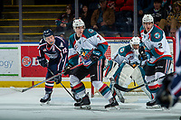 KELOWNA, CANADA - JANUARY 3: Jordan Topping #12 of the Tri-City Americans looks for the pass from behind Libor Zabransky #7 of the Kelowna Rockets on January 3, 2017 at Prospera Place in Kelowna, British Columbia, Canada.  (Photo by Marissa Baecker/Shoot the Breeze)  *** Local Caption ***