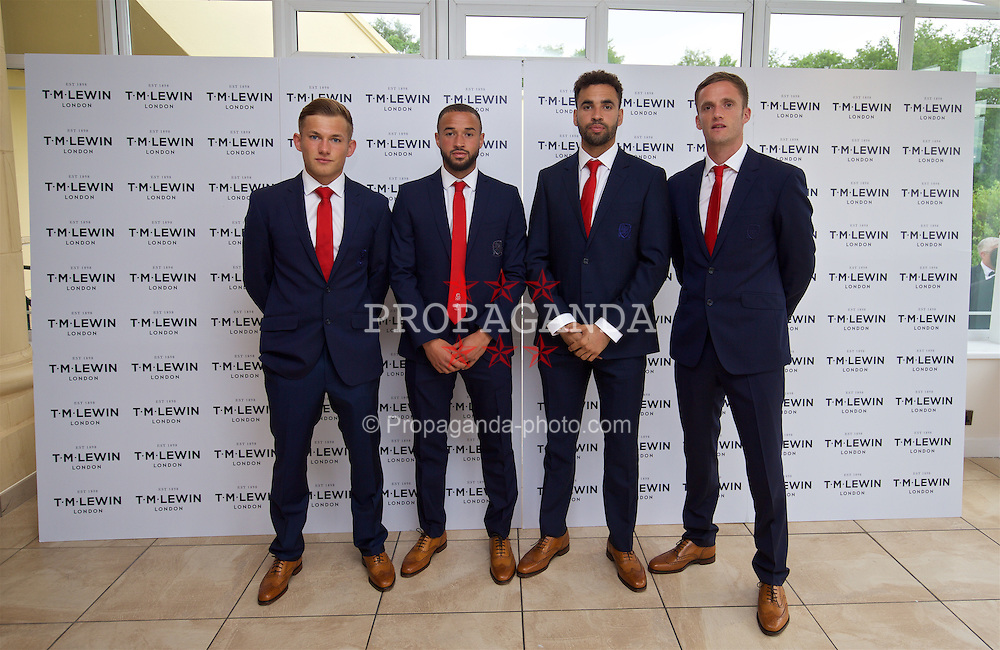 CARDIFF, WALES - Wednesday, June 1, 2016: George Williams, Ashley 'Jazz' Richards, Hal Robson-Kanu, Andy King wearing T.M. Lewin suits before a charity send-off gala dinner at the Vale Resort Hotel ahead of the UEFA Euro 2016. (Pic by David Rawcliffe/Propaganda)