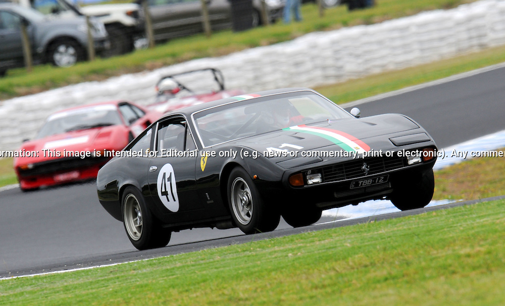Trevor Bassett - Ferrari  365 GTC4.Historic Motorsport Racing - Phillip Island Classic.18th March 2011.Phillip Island Racetrack, Phillip Island, Victoria.(C) Joel Strickland Photographics.Use information: This image is intended for Editorial use only (e.g. news or commentary, print or electronic). Any commercial or promotional use requires additional clearance.