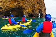 Sea kayaking on Santa Cruz Island, Channel Islands National Park, California USA