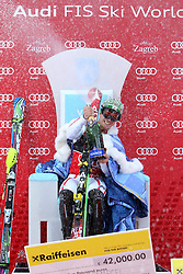 06.01.2013, Crveni Spust, Zagreb, CRO, FIS Ski Alpin Weltcup, Slalom, Herren, Podium, im Bild Marcel Hirscher (AUT, Platz 1) // 1st palce Marcel Hirscher of Austria celebrate on podium of the mens Slalom of the FIS ski alpine world cup at Crveni Spust course in Zagreb, Croatia on 2013/01/06. EXPA Pictures © 2013, PhotoCredit: EXPA/ Pixsell/ Michal Glebov..***** ATTENTION - for AUT, SLO, SUI, ITA, FRA only *****
