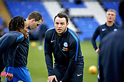 Peterborough Utd's Lee Tomlin (29) warming up before the EFL Sky Bet League 1 match between Peterborough United and Rochdale at London Road, Peterborough, England on 12 January 2019.