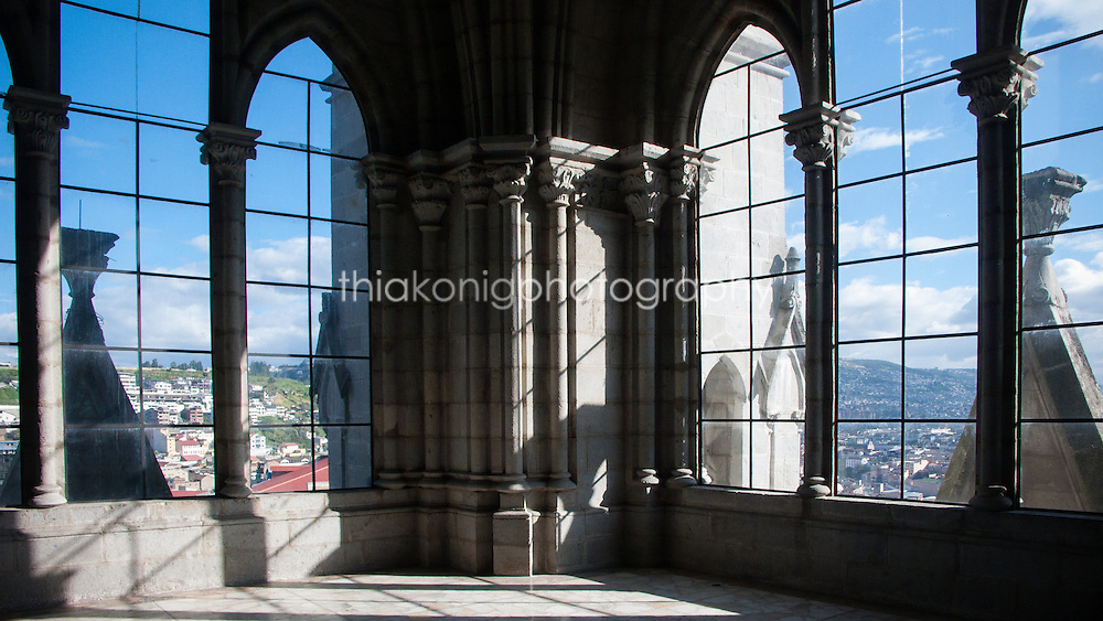 View out gothic arches of top of the Quito Basilica del Voto National, Quito, Ecuador.