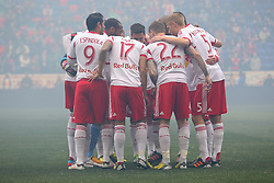 Mar 16, 2013; Harrison, NJ, USA; The New York Red Bulls gather before their game against the D.C. United at Red Bull Arena. The match ended in a 0-0 tie.