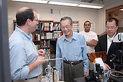 "Yuan-Cheng ""Bert"" Fung, recipient of the 2007 Fritz J. and Dolores H. Russ Prize having breakfast with students in Stocker...David Tees/Doug Goetz lab, ""Leukocyte Adhesion in Capillary Sized Microvessels""..Left to right:..David Tees,Yuan-Cheng ""Bert"" Fung, Prithu Sundd, and Wei Huang(UCSD Associate project scientist)....Russ Prize winner to speak on biomechanics..Yuan-Cheng ""Bert"" Fung, recipient of the 2007 Fritz J. and Dolores H. Russ Prize, will give a public lecture titled, ?Biomechanics: The Road to Understanding Living Systems,? from 2:10 to 3 p.m. Thursday, Sept. 27, in Ohio University's Baker University Center Theatre.  ..Widely considered the father of modern biomechanics, Fung's diverse research endeavors have formed the basis for the entire field of automotive safety design. They also contributed to the development of artificial skin, improved the effectiveness and longevity of prosthetic devices and enabled the military to develop safer non-lethal weapons and personal body armor. Fung is currently a professor emeritus of bioengineering at the University of California, San Diego, where he founded the bioengineering program...In addition to his public lecture, Fung will also tour Ohio University biomedical engineering labs and meet with Ohio University faculty, leaders, and the Russ College Engineering Ambassadors. ..The late Ohio University graduate Fritz Russ and his wife, Dolores, created the Russ Prize in 1999. The $500,000 award, one of the top three engineering prizes in the world, recognizes engineering achievement that significantly improves the human condition. All Russ Prize winners are invited to give a lecture at Ohio University...Fung's lecture is free and open to the public. A reception will follow outside the theater."