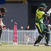 Nain Abidi is bowled by Lucy Doolan during the match between New Zealand and Pakistan in the Super 6 stage of the ICC Women's World Cup Cricket tournament at Drummoyne Oval, Sydney, Australia on March 19, 2009. New Zealand won the match by 223 runs. Photo Tim Clayton