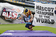 Vinny the Viking Wins the 2015 Mascot Race during the NatWest T20 Blast semi final match between Northamptonshire County Cricket Club and Warwickshire County Cricket Club at Edgbaston, Birmingham, United Kingdom on 29 August 2015. Photo by David Vokes.