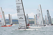David Haylock (NZL271), race two of the A Class World championships regatta being sailed at Takapuna in Auckland. 11/2/2014