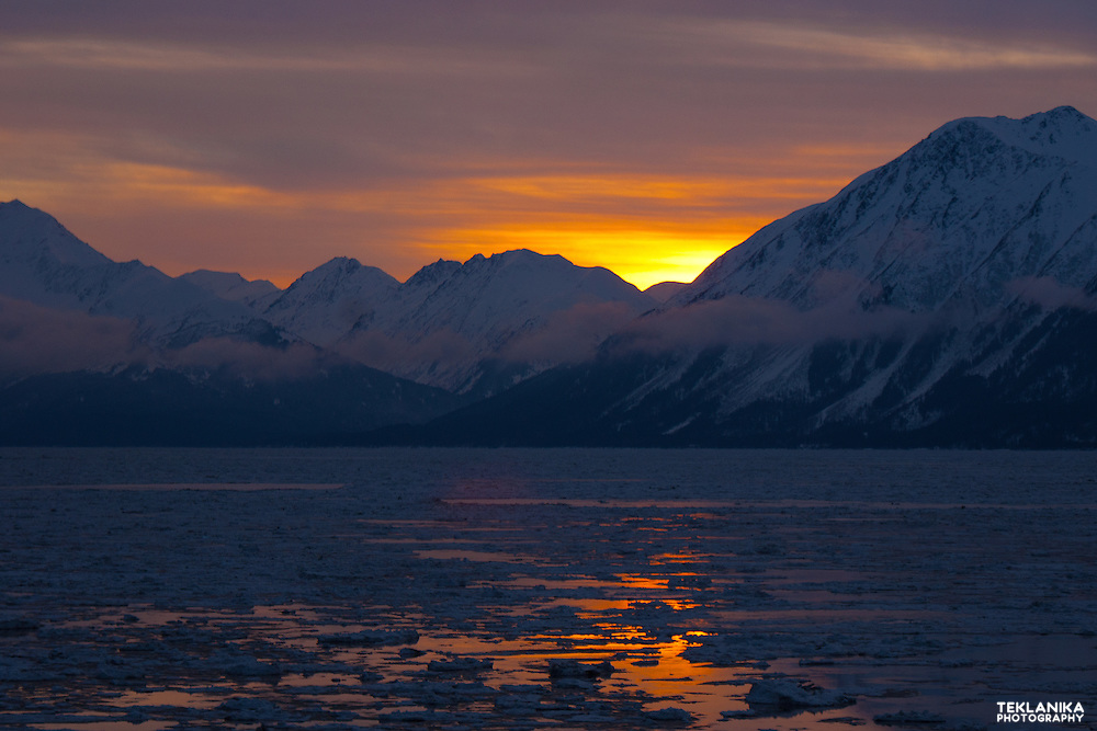 Dawn breaks over Southcentral Alaska's Turnagain Arm.