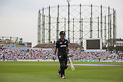 New Zealand Wickekeeper Luke Ronchi is out for 33 and walks to the pavilion during the Royal London One Day International match between England and New Zealand at the Oval, London, United Kingdom on 12 June 2015. Photo by Phil Duncan.