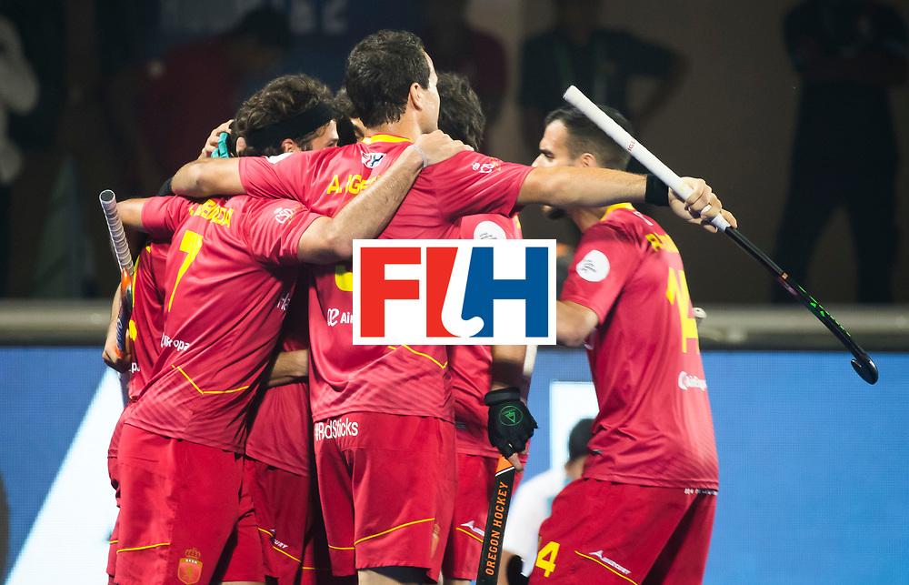 BHUBANESWAR - Spain celebrates a goal .   Hockey World League finals , Quarter Finals . Spanje-Australie (1-4)  COPYRIGHT KOEN SUYK