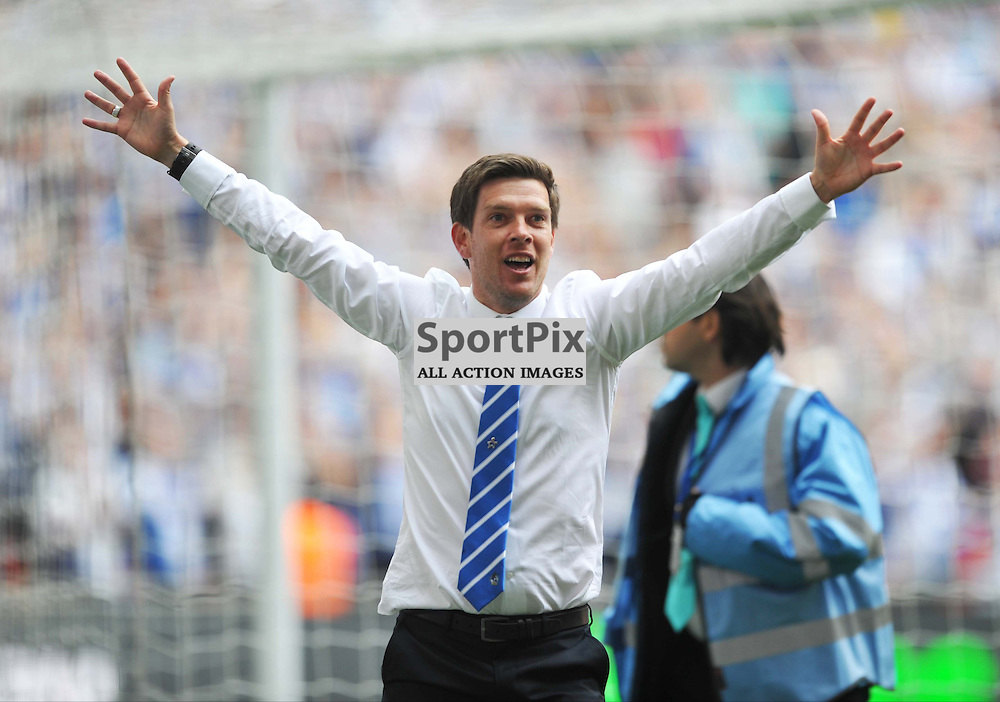 Bristol Rovers Manager Darrell Clarke Celebrates to his Fans as His Team are Winners of the Conference Final and Promotion to the football League, Bristol Rovers v Grimsby, Vanaama Conference Final, Wembley, Sunday 17th May 2015