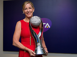 October 26, 2018 - Kallang, Singapore - Chris Evert poses with the WTA Year End No.1 Trophy that has been named in her honor at the 2018 WTA Finals tennis tournament (Credit Image: © AFP7 via ZUMA Wire)