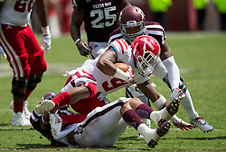 Texas A&M linebacker Anthony Hines III (19) tackles Louisiana-Lafayette running back Trey Ragas (9) for a loss during the fourth quarter of an NCAA college football game Saturday, Sept. 16, 2017, in College Station, Texas. (AP Photo/Sam Craft)