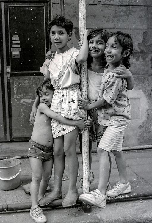 Children posing in Zizkov.