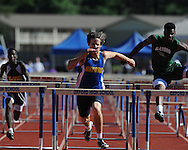 Oxford High's Jonathan Redding runs hurdlesat the Region 1-5A Track Meet at Oxford High School in Oxford, Miss. on Monday, May 3, 2010.
