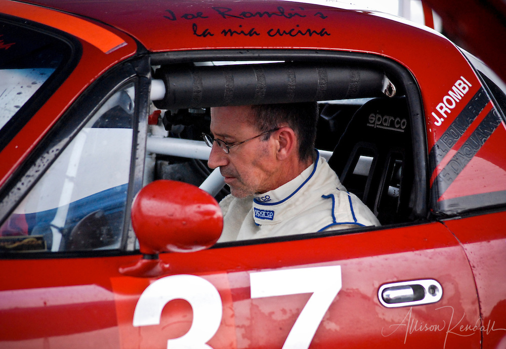 A driver preps for racing during an SCCA event at Laguna Seca
