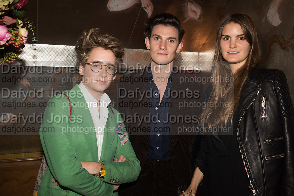 LUKE EDWARD HALL; DUNCAN CAMPBELL; CHARLOTTE REY, spotted at Bloom & Wild's exclusive event at 5 Hertford Street last night. 5 September 2017. The event was announcing the new partnership between the UK's most loved florist, Bloom & Wild and British floral design icon Nikki Tibbles Wild at Heart. Cocooned in swaths of vibrant Autumn blooms, guests enjoyed floral-inspired cocktails from Sipsmith and bubbles from Chandon, with canapés put on by 5 Hertford Street. Three limited edition bouquets from the partnership can be bought through Bloom & Wild's website from the 1st September.  bloomandwild.com/WAH