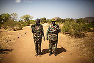 Two female SPLA-North soliders at a training camp in the Nuba mountains.
