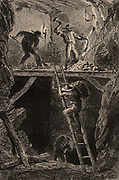 Miners in a metal mine, Campiglia, Tuscany, Italy, working in a stope.  The men on the platform are excavating the vein of ore which is being carried away in baskets.  From  'Underground Life; or, Mines and Miners' by Louis Simonin (London, 1869). Wood engraving.
