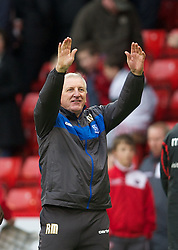 SHEFFIELD, ENGLAND - Saturday, March 17, 2012: Tranmere Rovers' manager Ronnie Moore celebrates his side's 1-1 draw with Sheffield United during the Football League One match at Bramall Lane. (Pic by David Rawcliffe/Propaganda)