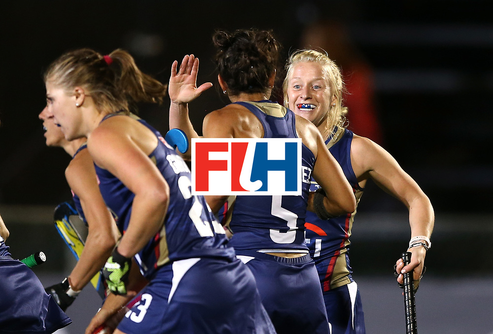 JOHANNESBURG, SOUTH AFRICA - JULY 10: Jill Witmer of the United States celebrates scoring their team's second goal with Melissa Gonzalez at Wits University on July 10, 2017 in Johannesburg, South Africa.  (Photo by Jan Kruger/Getty Images for FIH)