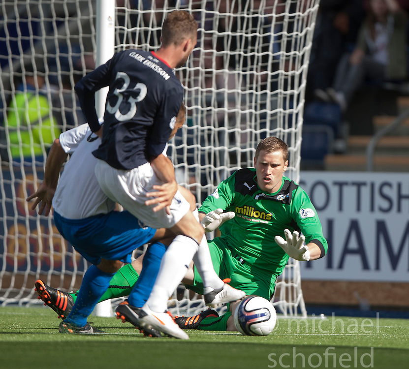 Morton's keeper Derek Gaston saves.<br /> Falkirk 3 v 1 Morton, Scottish Championship 17/8/2013.<br /> &copy;Michael Schofield.