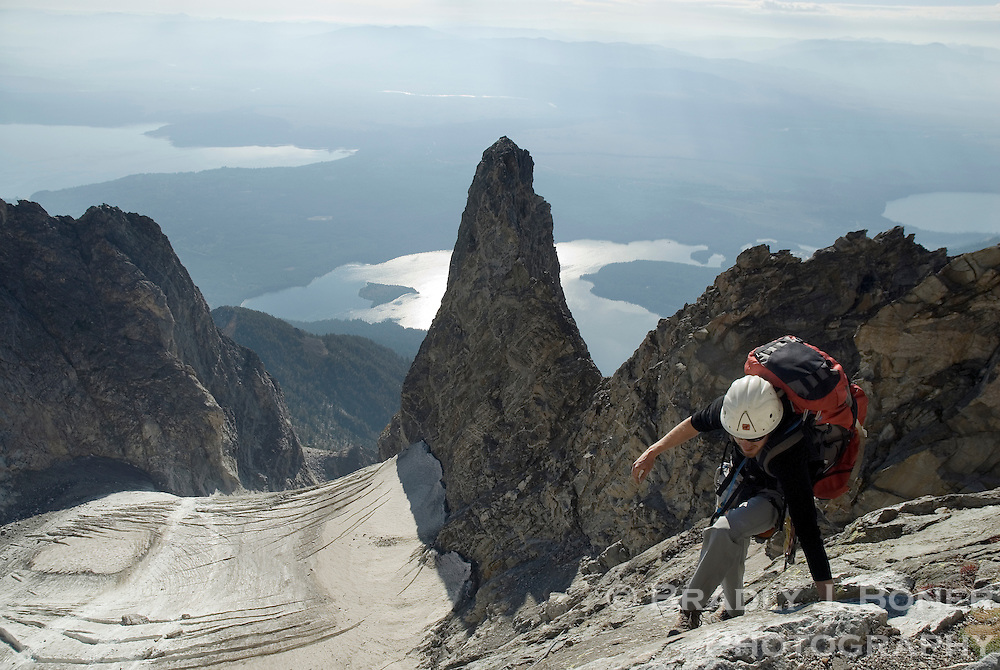 David Stubbs climbs the CMC face of Mount Moran, Grand Teton National Park, Wyoming