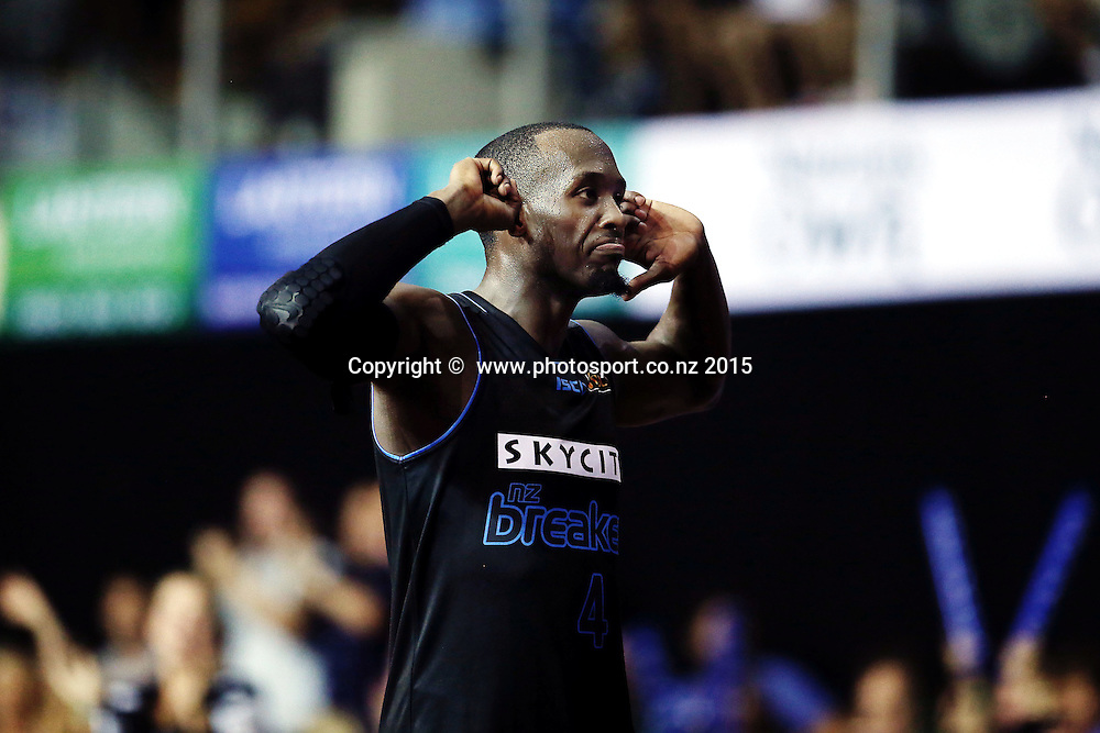 Cedric Jackson of the Breakers hears it from the crowds after a late run in overtime. 2014/15 ANBL, SkyCity Breakers vs Wollongong Hawks, North Shore Events Centre, Auckland, New Zealand. Thursday 8 January 2015. Photo: Anthony Au-Yeung / www.photosport.co.nz