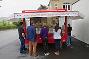 Stuttgart. Erna & Co, a mobile food stall selling Maultaschen (Swabian Dumplings).