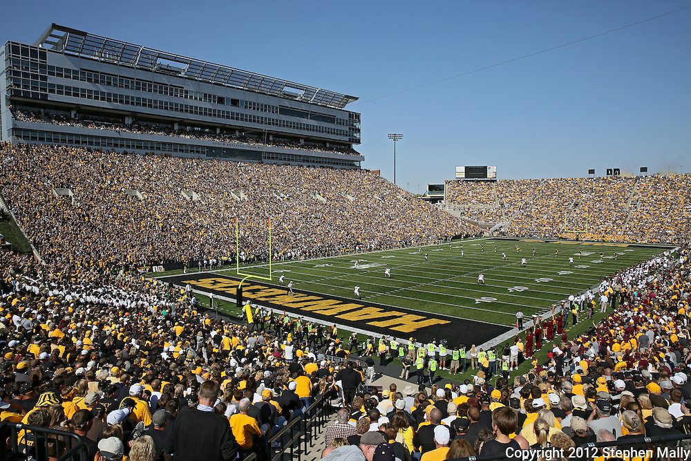 September 29 2012: A general view of Kinnick Stadium as the Iowa Hawkeyes kickoff to the Minnesota Golden Gophers during the second quarter of the NCAA football game between the Minnesota Golden Gophers and the Iowa Hawkeyes at Kinnick Stadium in Iowa City, Iowa on Saturday September 29, 2012. Iowa defeated Minnesota 31-13 to claim the Floyd of Rosedale Trophy.