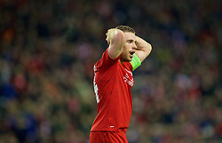 LIVERPOOL, ENGLAND - Thursday, March 10, 2016: Liverpool's captain Jordan Henderson looks dejected after missing a chance against Manchester United during the UEFA Europa League Round of 16 1st Leg match at Anfield. (Pic by David Rawcliffe/Propaganda)