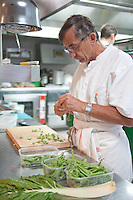 .Chef Michel Bras in his kitchen, Restaurant Bras, Laguiole, France - Three Michelin Stars, specializing in exquisite vegetables