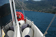 Montenegro The coast as seen from on-board a yacht in the Mediterranean sea